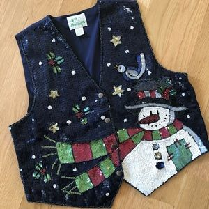 Sweaters - Festive holiday Christmas sequin vest